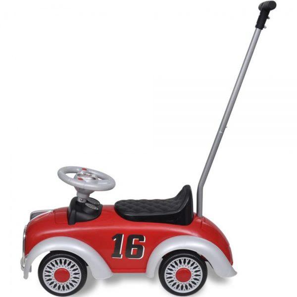 raudonas-retro-vaikiskas-automobilis-su-stumimo-rankena